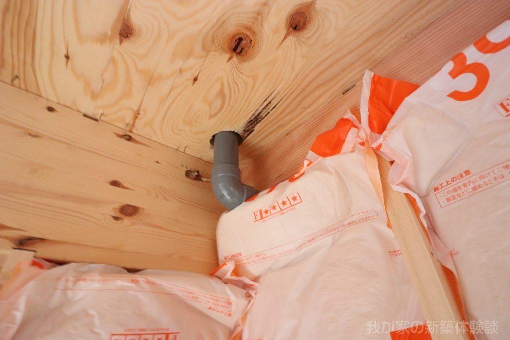 木造新築工事の排水管