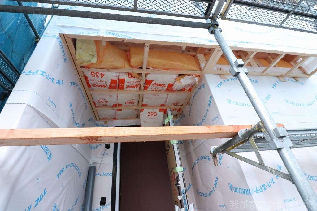 木造新築工事の防湿シート