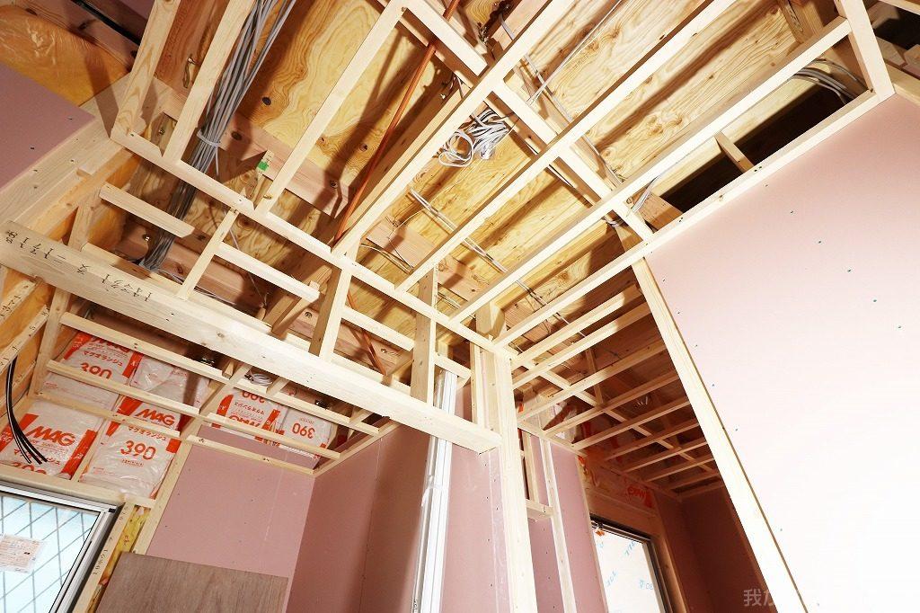 木造新築工事の天井下地