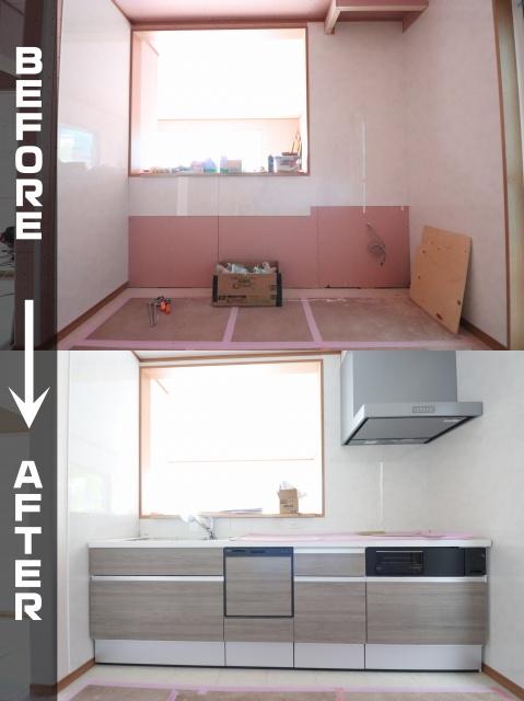 新築工事 システムキッチン取付