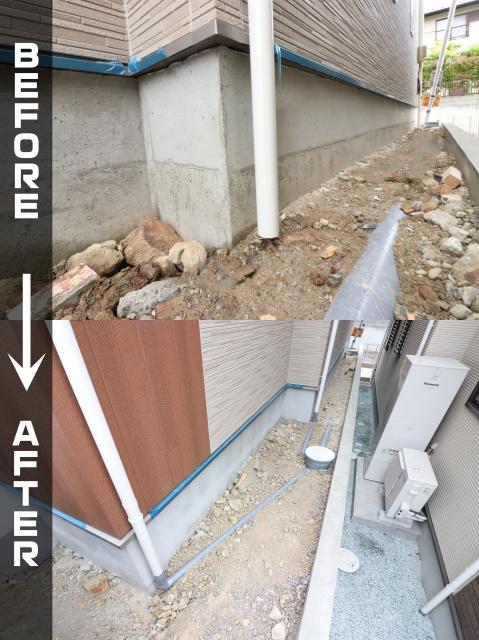 雨樋と排水桝の接続