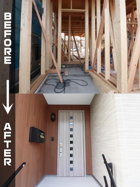 木造新築工事 玄関