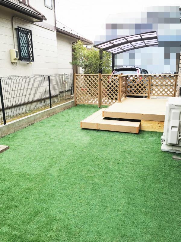 庭のリフォーム 人工芝敷き ウッドデッキ