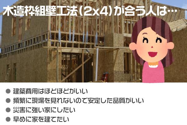 木造枠組壁工法(2x4、2x6)での住宅建築に適している人